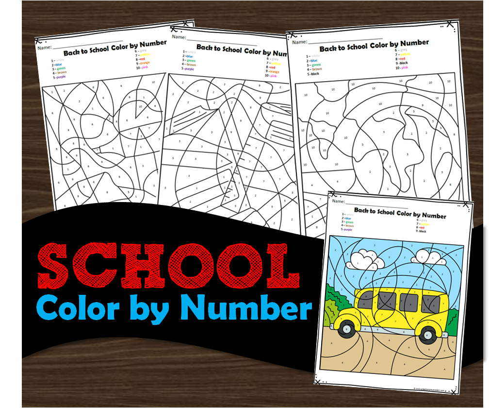 Super cute first day of school color by number worksheets for toddler, preschool, prek, kindergarten