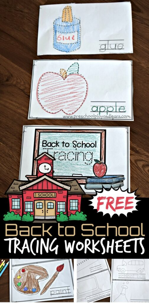 Young learners will have fun strengthening fine motor skills and refining coordination in preparation for writing letters with these super cute, free printable, School Supplies Tracing Worksheet. This back to school pre writing activity is perfect for toddler, preschool, pre k, and kindergarten age students. Use these on the first day of school to learn the names of school supplies as you trace the letters to make words.