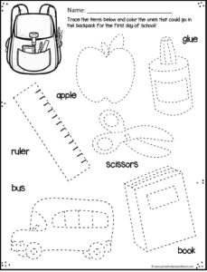 back to school worksheets for preschool, prek, and kindergarten age kids