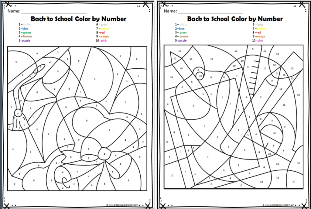 FREE Back To School Color By Number