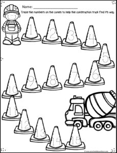 Practice tracing numbers with these cute construction worksheets for kids