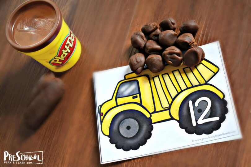 Free printable construction themed counting playdough mats for preschoolers and kindergarteners