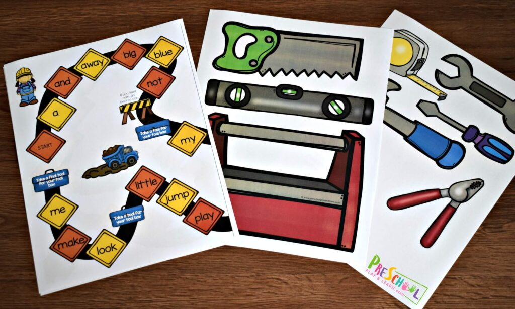 Super cute construction printables for toddler, preschool, kindergarten to play pretend with tools and a tool box.