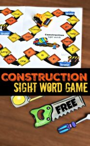 FREE Construction Sight Word Game - kids will have fun practicing preschool sight words with this fun, free printable game for prek, kindergarten, and preschoolers! #sightwords #preschool #prek