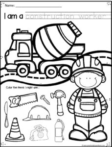 Community helper construction worker worksheet