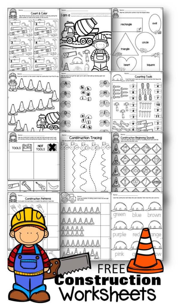 FREE Construction Worksheets for Preschoolers - super cute and free printable math and literacy worksheets to help preschool, prek, and kindergarten age kids practice counting and alphabet letters matching upper and lowercase letters with a fun preschool theme. #construction #preschool #worksheetsforkids