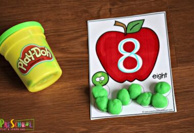 Super cute apple and worm count to 10 activity with playdough