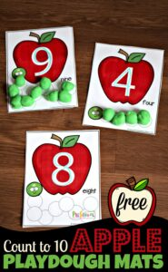 FREE Apple Count to 10 Playdough Mats - super cute toddler, preschool, kindergarten math activity for counting, tracing numbers in september #appletheme #preschoolmath #playdough