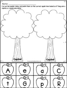 Fall cut and paste worksheets to identify upper and lowercase letters