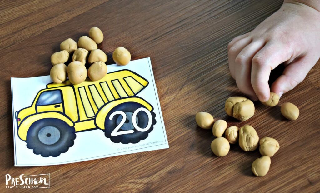This fun dump truck counting activity allows preschool and kindergarten age kids to practice counting 1-20