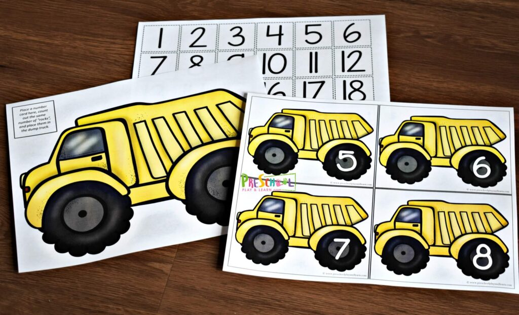 Free printable yellow dump truck counting mats in two sizes