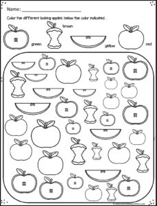 fall worksheet to help kids work on visual discrimination and coloring