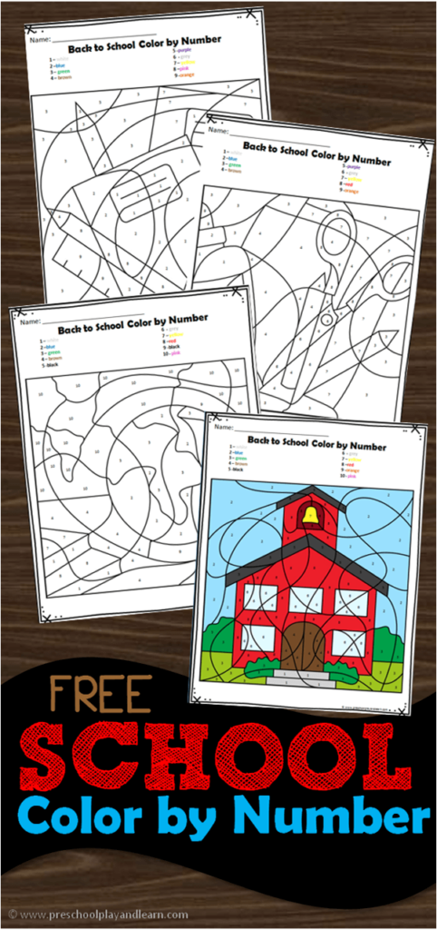 FREE Back to School Printable Color by Number - super cute preschool worksheets for the first day of school to practice numbers 1-10! #colorbynumber #backtoschool #firstdayofschool