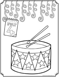 Fourth of July Drum Coloring Page