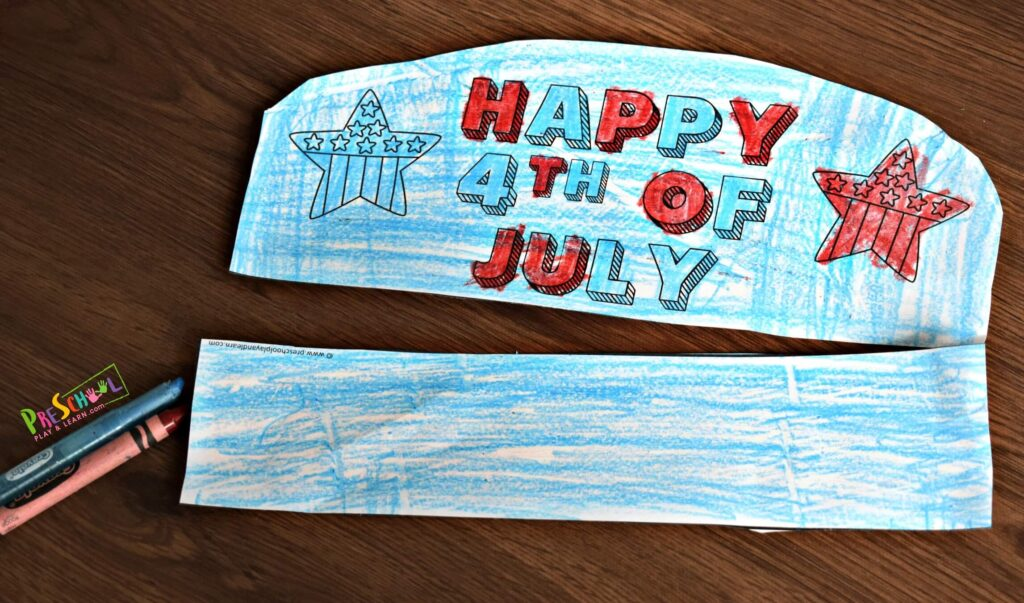 You can print this fourth of july craft in color or in black and white and allow kids to customize their own hat craft.
