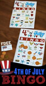 FREE 4th of July BINGO - free printable game to celebrate fourth of July with a game the whole family can play together! #4thofjluy #fourthofjuly #family