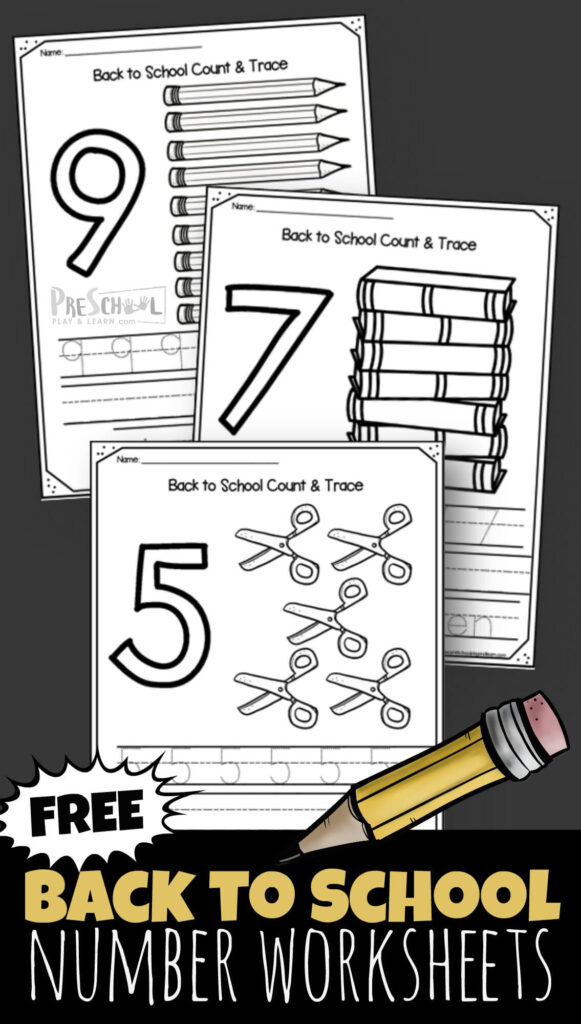 Kids will have fun practicing tracing numbers to 10 with these super cute, free printable Back to School 1-10 Number Worksheets for toddler, preschool, pre k, and kindergarten age students.