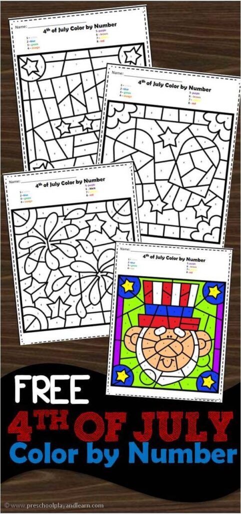 FREE Fourth of July Color by Number Worksheets - kids will have fun practicing number recognition with numbers 1-10 with these free printable preschool worksheets perfect for summer math #4thofjuly #colorbynumber #preschool