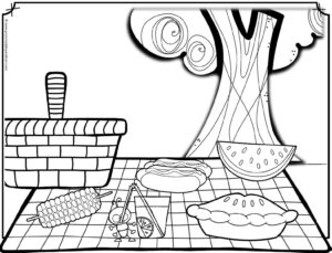 free picnic coloring page