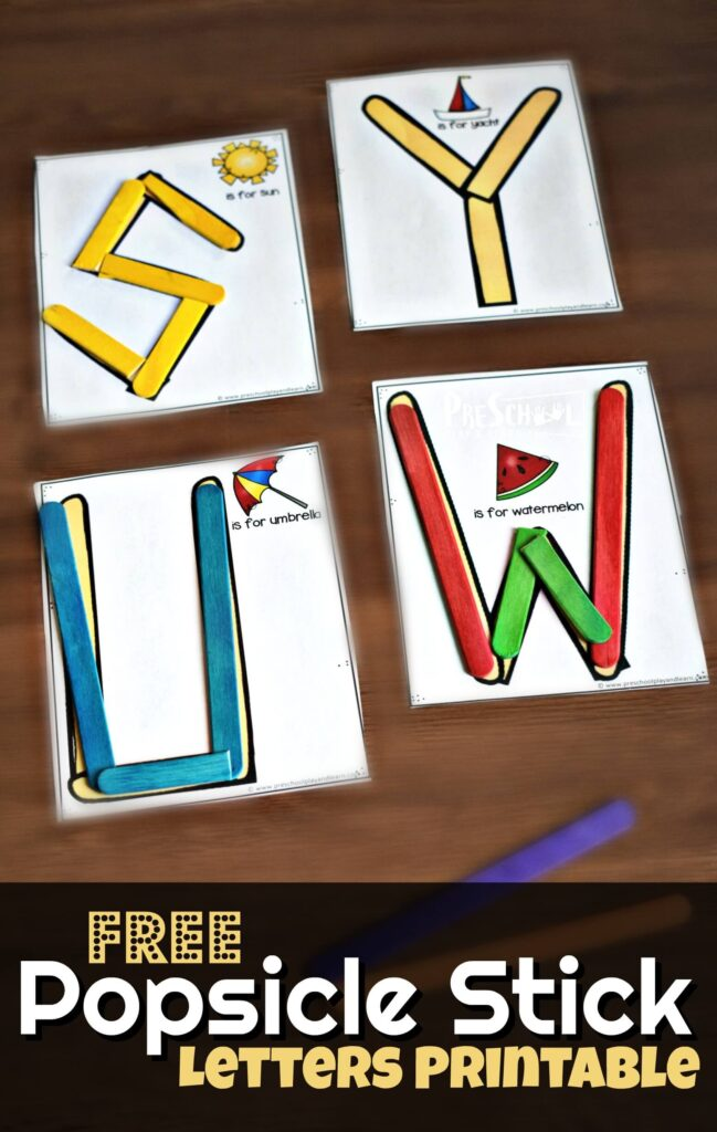 FREE Popsicle Stick Alphabet Printable - super cute hands on alphabet activity for practicing making uppercase letters with toddler, preschool, kindergarten #alphabet #preschool #letters