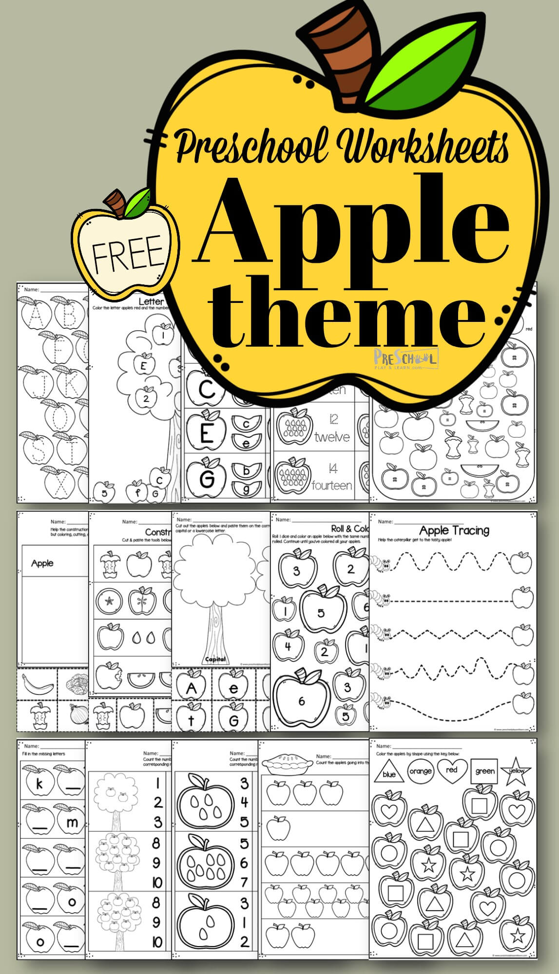 FREE Preschool Worksheets to help preschoolers, prek, and kindergarten counting, alphabet letters, patterns, shapes, colors, and more #freeworksheets #preschoolworksksheets #worksheetsforkids