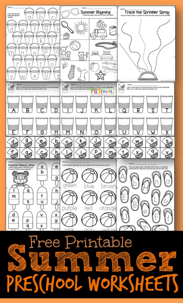 FREE Summer Preschool Worksheets are such a fun way to help kids practice alphabet letters, literacy and other skills for preschool and kindergarten age kids #preschool #kindergarten #alphabet