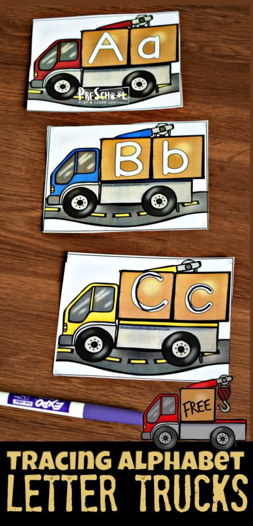FREE Tracing Alphabet Letter Trucks- Kids will have fun practicing writing letters and matching upper and lowercase letters in this fun alphabet activity for preschool and kindergarten age kids with a construction theme #alphabet #preschool #kindergarten