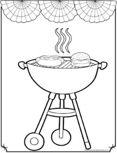 Grilling 4th of July Coloring Sheet