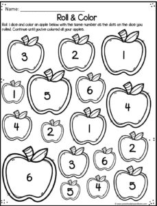 number worksheets to practice numbers with a fun apple theme