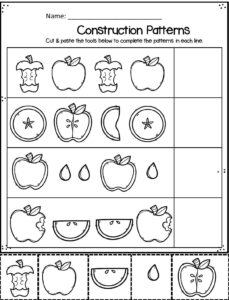 cut and paste fall pattern worksheets for preschoolers and kindergartners