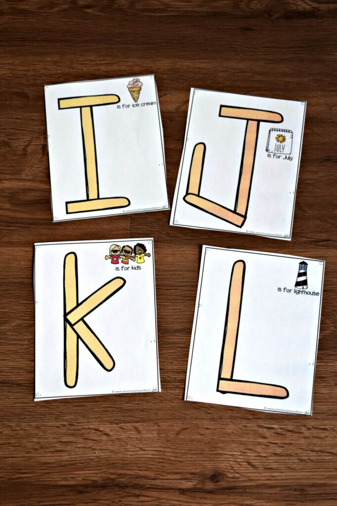 there are 4 Popsicle stick alphabet cards per sheet