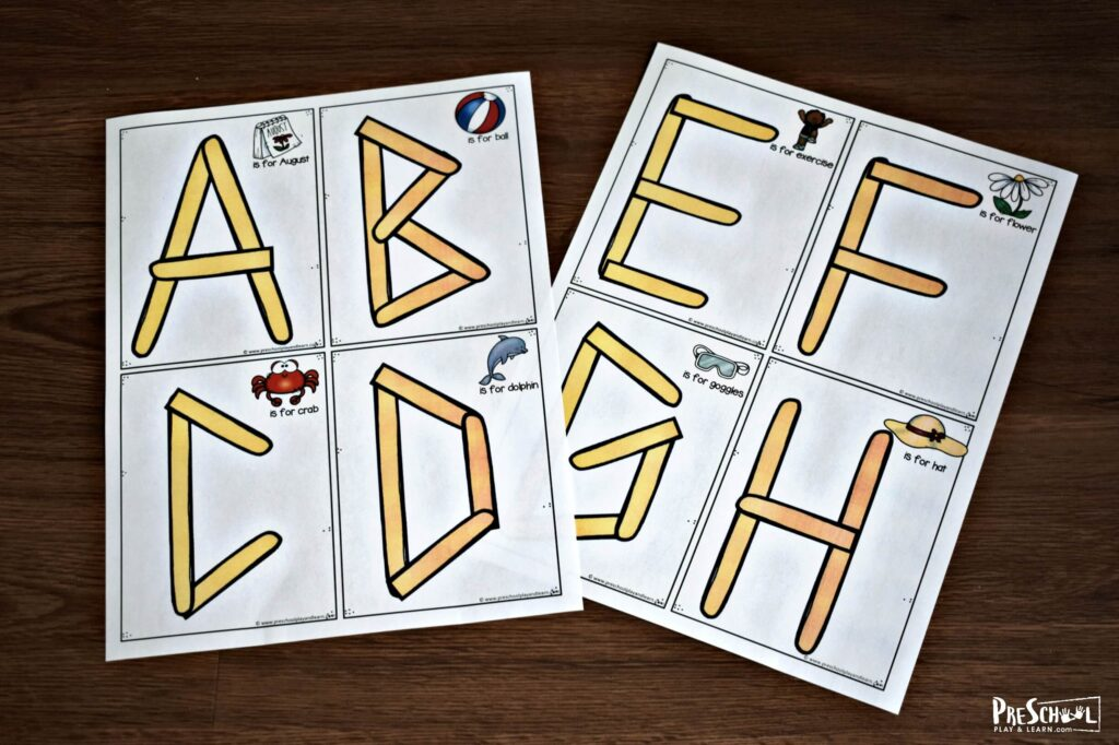 Print these craft stick alphabet letter template to help toddler, preschool, and kindergartena ge kids practice making letters