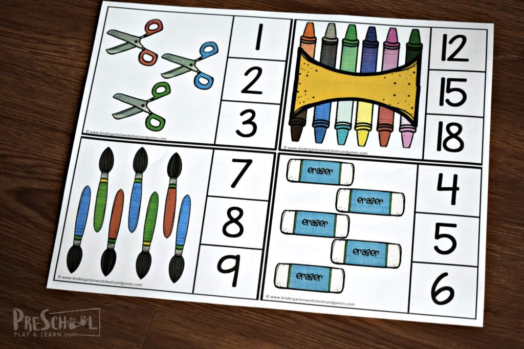 These FREE back to school themed count and clip cards are the perfect introduction to preschool math.