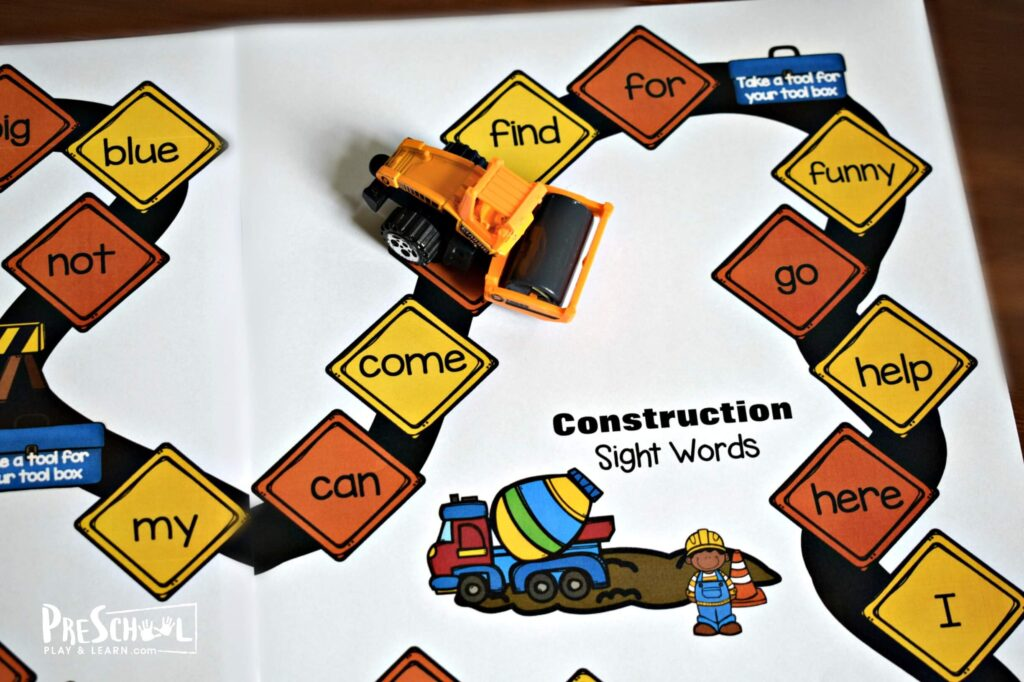 Kids will move their game piece around the board reading preschool sight words as they gather tools for their toolbox.