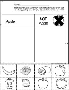preschool worksheets for kids to discern what is and what is not an apple