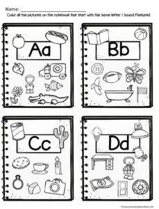 preschool worksheets to practice alphabet letters and phonics skills