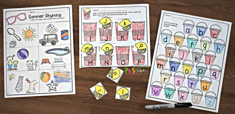 Fun, creative and free preschool worksheets for summer learning