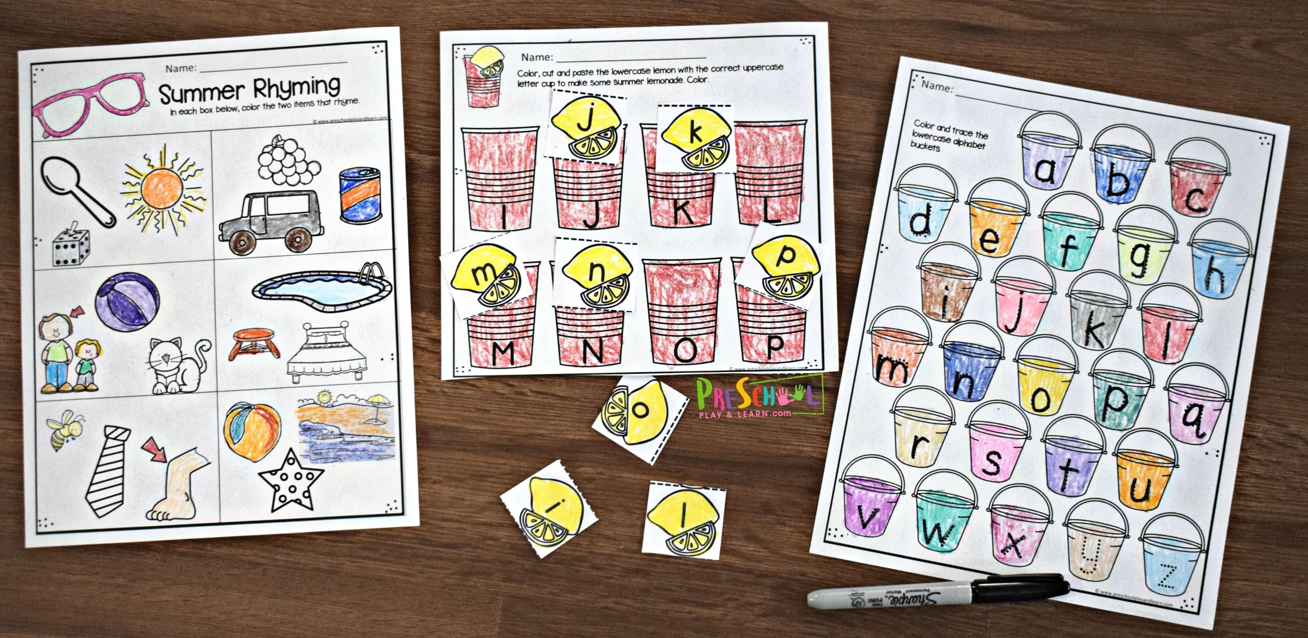 Free Summer Preschool Worksheets