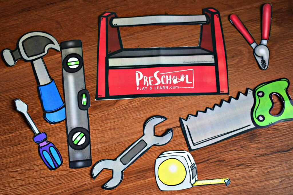 Super cute printable tools are great for creative play for toddler, preschool, and kindergarten. They fit perfectly in their hands and the toolbox.