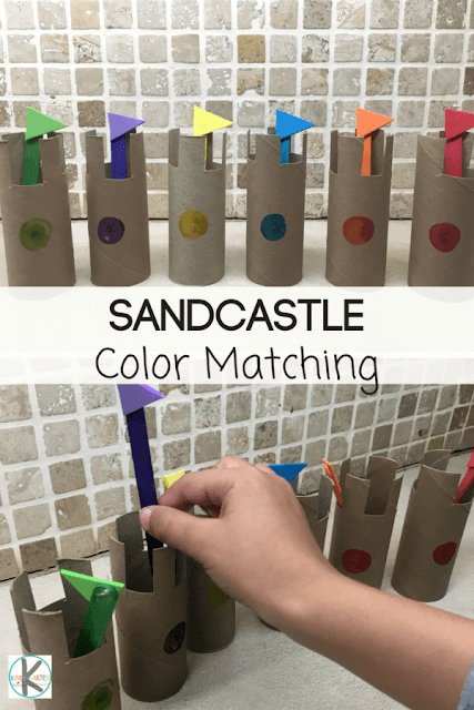 Practice matching colors with this fun sandcastle color matching activity for preschool and kindergarten age kids.