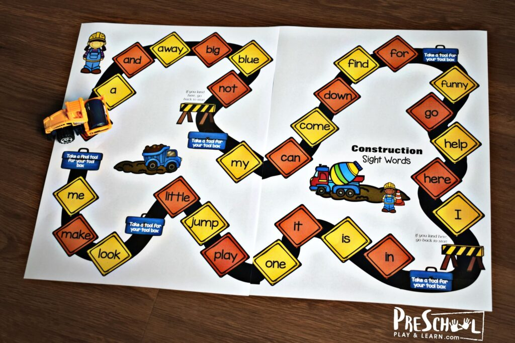 Super cute construction themed sight word games for preschool and kindergarten
