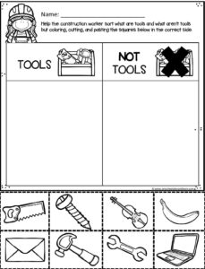 Cut and paste preschool worksheets about tools