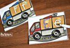 This truck themed educational activity for preschoolers helps kids practice tracing alphabet letters.