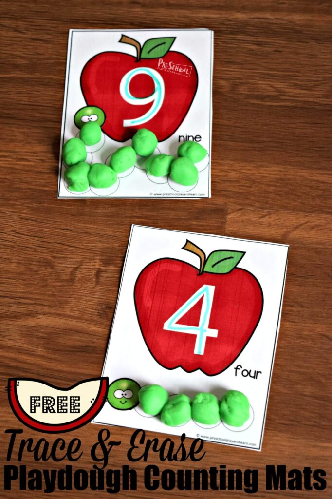 FREE Tracing Numbers 1-10 with these fun, hands on playdough mats perfect for fall preschool math #preschool #playdough #counting