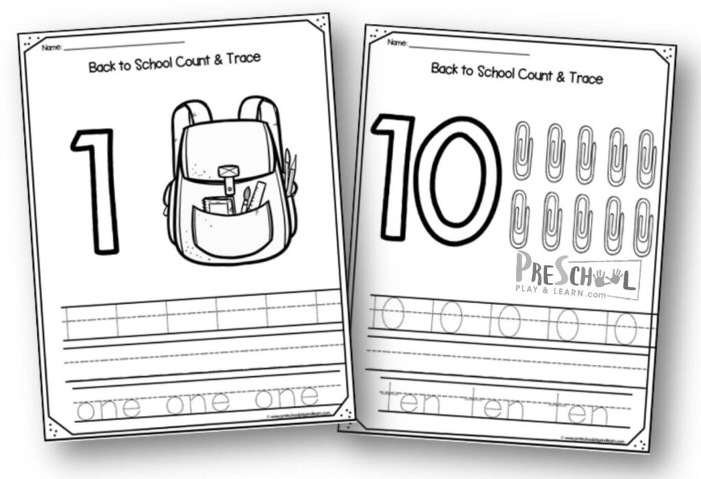 FREE Back To School 1-10 Number Worksheets