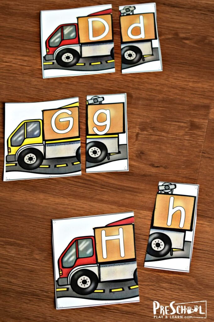 FREE Construction Truck Puzzles - Use free printable to practice matching upper and lowercase letters by turning them into puzzles!