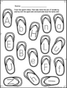 Practice writing uppercase letters with these letter tracing summer worksheets.