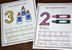 Super cute preschool worksheets for helping kids to practice writing numbers 1-10 on the first day of school