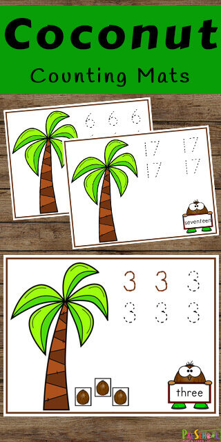 FREE Coconut Counting Mats - these free printable number mats are a fun way to practice tracing numbers and counting to 10 with preschool, prek, and kindergarten age kids #counting #tracingnumbers #preschool