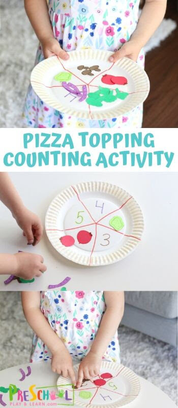 Pizza Topping Counting Activity - this is such a fun, hands-on preschool math activity to practice counting to 10 #counting #preschool #preschoolmath